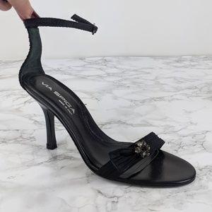 Via Spiga Black Strappy Jeweled Silk Heels - 8